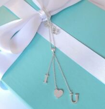 Tiffany & Co Silver I Love Heart U You Drop Dangling Lariat Necklace with Box