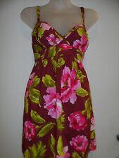Hollister XS Dress Burgandy Cross Back Floral Spring Summer Beach Party Sundress