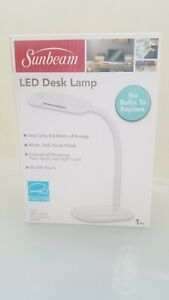 LED Desk Lamp - BRAND NEW - Sunbeam - Flexible Neck White Adjustable Light