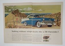Original Print Ad 1955 CHEVROLET Nothing without Wings Desert 2 Page Pikes Peak