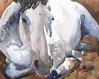 Gray Horse Art Print Signed by Artist Ron Krajewski Painting 8x10
