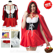 US Little Red Riding Hood Cape Cloak Fancy Dress Adult Women Costume Cosplay XL