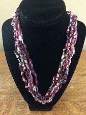 Handmade Crocheted Adjustable Ladder Ribbon Necklace - Rose