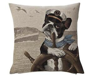 boston terrier french bulldog tapestry throw pillow cushion cover jacquard woven