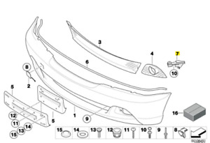 BMW (E46) Left Front Bumper Cover Guide Genuine BMW 51117065475