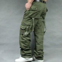 Mens Ribbon Cargo Overalls Baggy Loose Combat Military Trousers Pants Pocket New