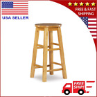 24'' Wooden Bar Stool With Round Seat For Kitchen Natural Wood Finish Furniture