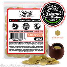 "500 Beamer Brass Metal Tobacco Smoking Pipe Screens .375"" 3/8""Comp2 Glass, Steel"