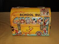 VINTAGE OLD ALADDIN MICKEY MOUSE WALT DISNEY SCHOOL BUS DOMED METAL LUNCHBOX