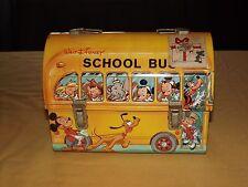 VINTAGE OLD ALADDIN MICKEY MOUSE WALT DISNEY SCHOOL BUS DOMED METAL LUNCHBOX