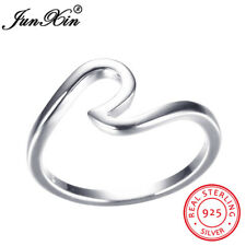 .925 Sterling Silver Ocean Wave Fashion Ring Size 6 7 8 9 10 NEW Women Jewelry