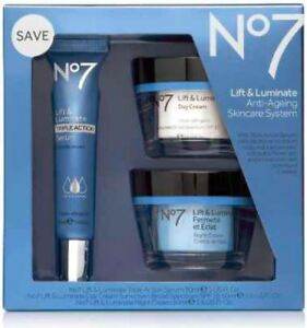 Boots No7 Lift & Luminate Anti-Ageing Skincare System with Triple Action Serum