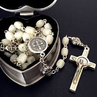 St. Benedict Mother Of Pearl Bead Rosary Catholic Necklace Cross box Jerusalem
