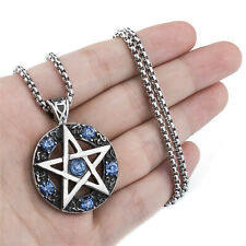 Mens Magic Pentagram Star Blue/Purple CZs Stainless Steel Pendant Necklace Set
