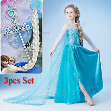 Girl Frozen Dress Costume Disney Princess Queen Elsa Party Birthday size 1-12Yrs