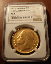 Albania 1927 R Gold 100 Franga Ari NGC MS61 Zog I No Star Below Bust
