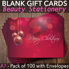 Christmas Gift Vouchers Blank Beauty Salon Card Nail Massage x100 A7+Envelope R