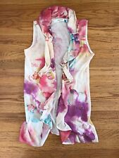 New SPARROW Anthropologie Sleeveless Ruffled floral Water-coloCardigan sweater S