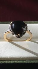 Beautiful Sterling Silver 14K Gold Plated Black Onyx Heart Ring - Size P
