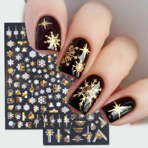 Christmas Holographic Laser Nail Stickers 5D Snowflakes Elk Leaf Manicure Decal`