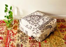 Square Moroccan Rug Ottoman Pouf Footstool Coffee Table Beanbag Handwoven Kilim