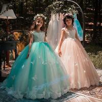 Neu Spitze Prinzessin Blumenmädchen Kleider Mädchen Geburtstag Festzug Kleider