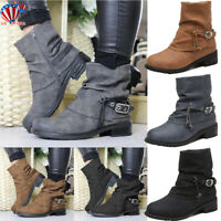 New Womens Chelsea Ankle Boots Ladies Winter Zip Low Heel Casual Flat Shoes Size