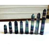 Natural Colorful Fluorite Stone Quartz Crystal Point Obelisk Wand Healing Reiki