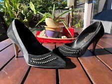 *EUC* BLACK LEATHER PUMPS - (selling cheap-few diamontes missing) Size 37
