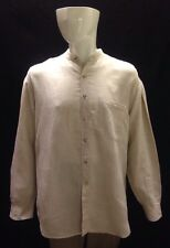 Perry Ellis Men's Tan Linen Blend Long Sleeve Button Up Front Shirt Size Large