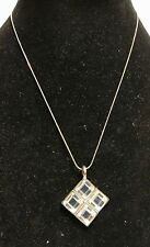 Signed Bonnie J Mirrored 4 Panel Squares Pendant Necklace Silver Toned Metal