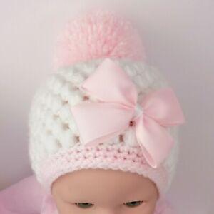BABY HAT POM POM STYLE HANDMADE CROCHET
