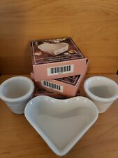 Longaberger pottery heart & votive candle holders & heart candles