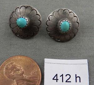 Handmade Western Large Concho Turquoise Enamel Filled Pierced Earrings