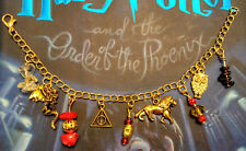 Gryffindor House Harry Potter House Charm Bracelet Red Gold Lion Hallows Dragon