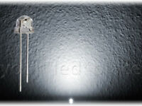 50 x LED 5mm straw hat PURWEIß, 90-120° weiß Kurzkopf Flachkopf Ultrahell white