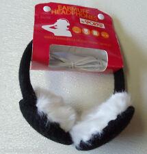 Black Knit & Faux  Earmuffs  Warmers Headphones Compatible MP3 Smartphone Laptop