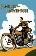 "Vintage Harley Davidson   - 24""x36"" Canvas Motorcycle Poster on Canvas"