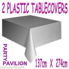 2 Silver Plastic Wedding / 25th Anniversary / Birthday Party Table Cloths Covers