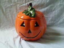 "Ceramic Pumpkin Halloween Jack O Lantern 5"" Candy Cookie Jar"