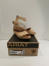 NIB ARIAT LISA FULL GRAIN LEATHER ANKLE STRAP LOW WEDGE SANDALS SIZE 8.5M PEARL
