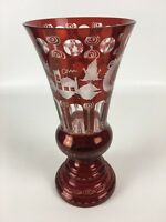 "Antique Bohemian Cut To Clear Cranberry Vase Castle Scene 12"" Tall"