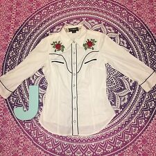Guess Jeans Womens Western White Pearl Snap Button Front Rose Stitch VTG Sz M