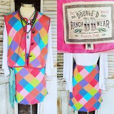 Double D Ranch Ranchwear Skirt Vest Set Patchwork Conchos M
