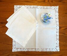 """Four Vintage Creamy White Linen and Lace Napkins 19"""" Square"""