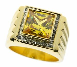 Yellow Topaz simulated mens Cz ring 18K gold overlay size 12