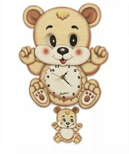 Bartolucci Moving Eye Teddy Bear Clock with Pendulum