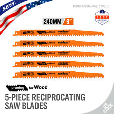 "5pc Reciprocating Saw Blades Set 9"" Electric Wood Pruning 5Tpi Saw Blades"