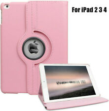 For iPad 2 3 4 Smart Awake Case 360 Degree Rotating Stand PU Leather Cover Pink