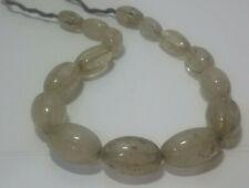 Naga Carved Quartz Crystal Tribal Oval Melon Beads Strand. 15 Beads 182 Grams
